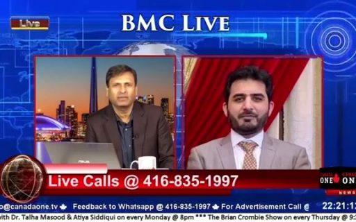 CEO Kamran Rashid is on Live call with Bader Munir Chaudhary on Canada One TV
